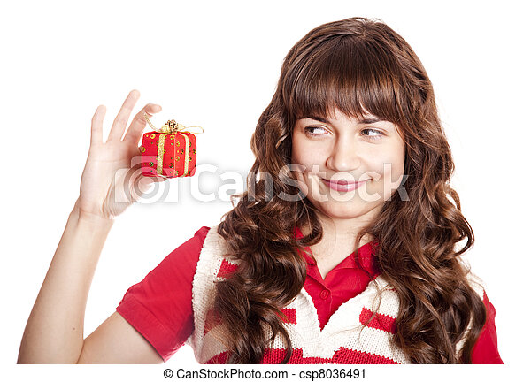 Beautiful brunette woman with present box. - csp8036491