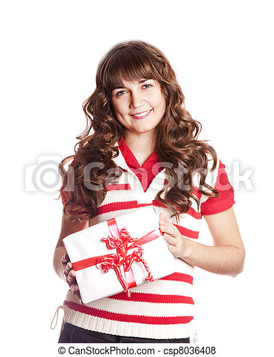 Beautiful brunette woman with present box. - csp8036408