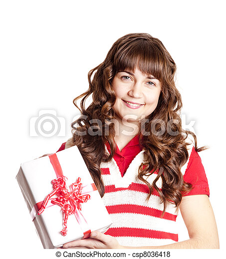 Beautiful brunette woman with present box. - csp8036418