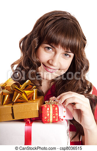 Beautiful brunette woman with present box. - csp8036515