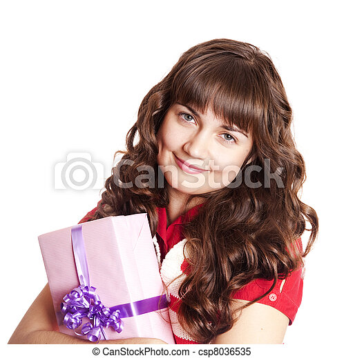 Beautiful brunette woman with present box. - csp8036535