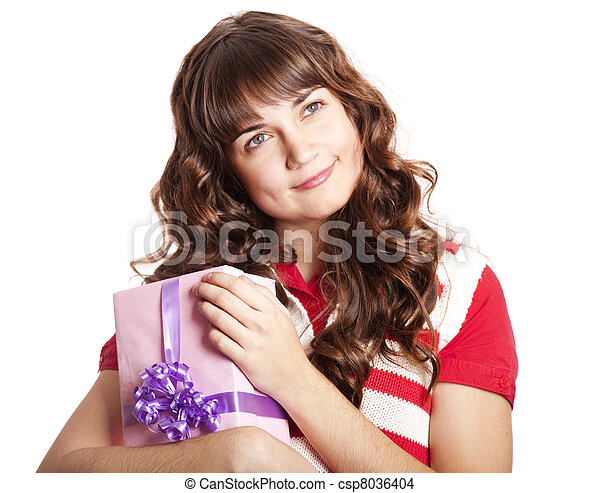 Beautiful brunette woman with present box. - csp8036404