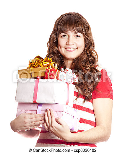 Beautiful brunette woman with present box. - csp8036482