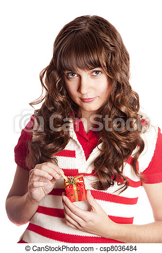 Beautiful brunette woman with present box. - csp8036484