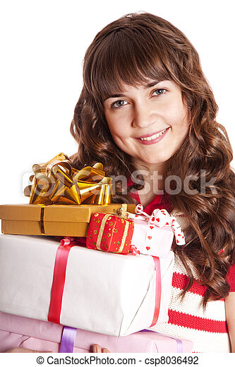 Beautiful brunette woman with present box. - csp8036492