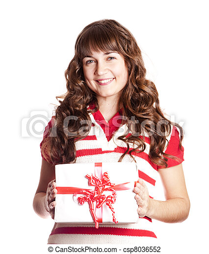 Beautiful brunette woman with present box. - csp8036552
