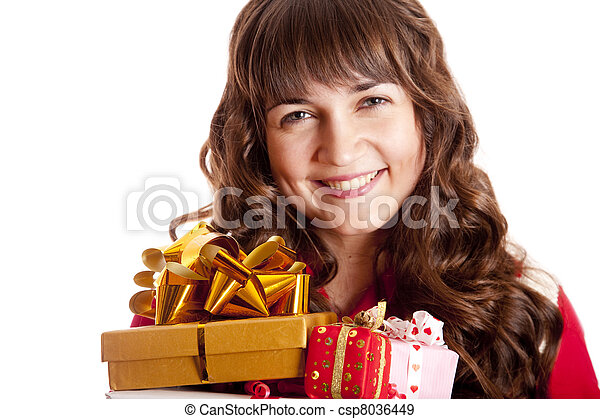 Beautiful brunette woman with present box. - csp8036449