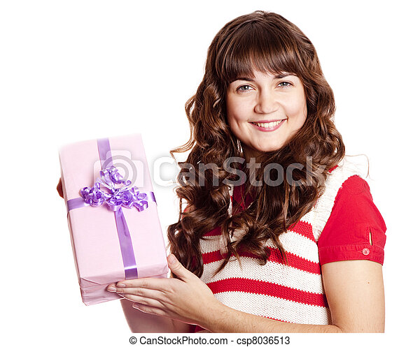 Beautiful brunette woman with present box. - csp8036513