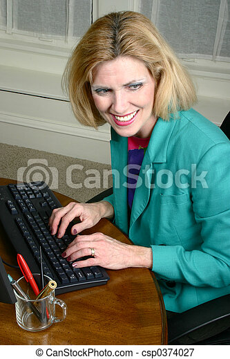 Beautiful Business Woman Laughing And Smiling - csp0374027