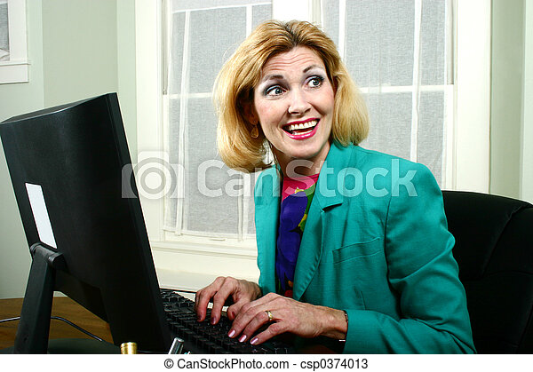 Beautiful Business Woman Laughing With Co-Workers - csp0374013