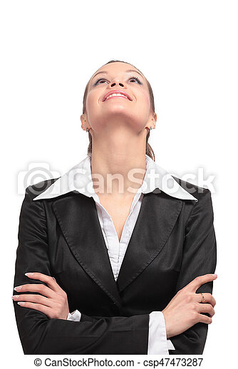 Beautiful business woman looking up - csp47473287
