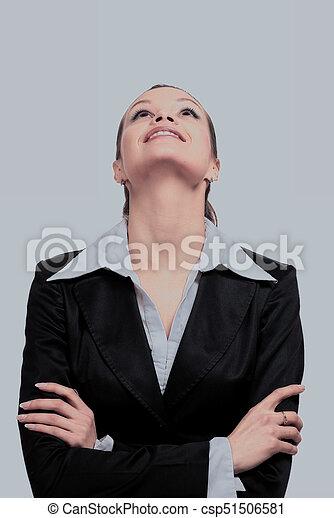 Beautiful business woman looking up - csp51506581