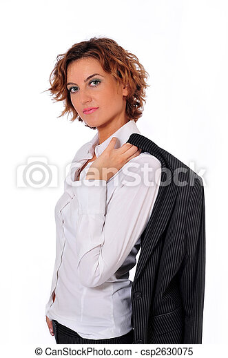 Beautiful Business Woman on White Background - csp2630075