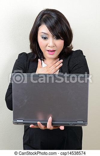 beautiful business woman scared - csp14538574