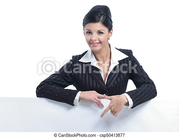 Beautiful business woman smiling isolated over a white - csp50413877