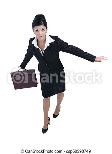 Beautiful business woman smiling isolated over a white - csp50398749