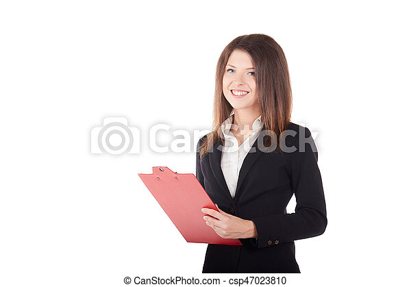 Beautiful business woman taking notes on her clipboard isolated on white background - csp47023810