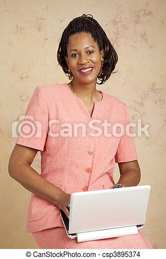 Beautiful Businesswoman on Computer - csp3895374