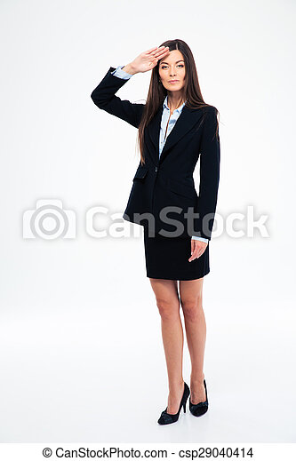 Beautiful businesswoman saluting - csp29040414
