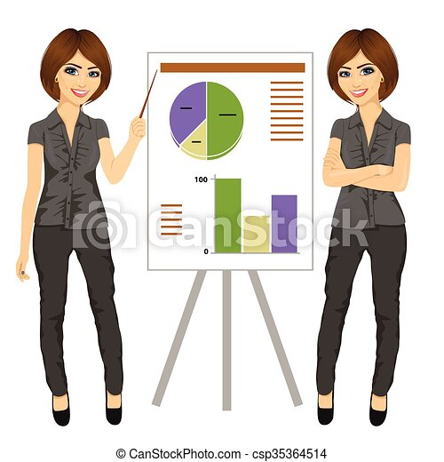 beautiful businesswoman standing near flip board pointing and explaining finances concept - csp35364514