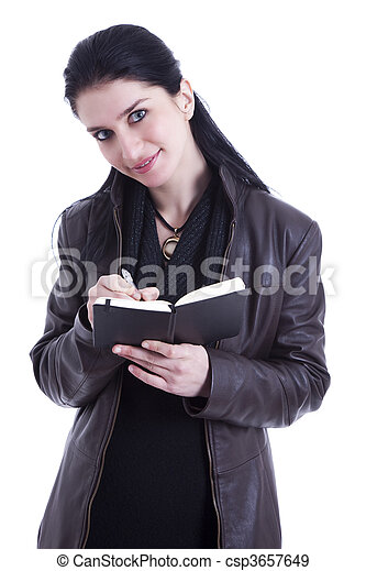 beautiful businesswoman taking notes - csp3657649
