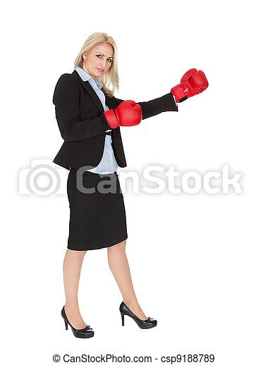 Beautiful businesswomen doing a punch - csp9188789