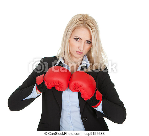 Beautiful businesswomen posing with boxing gloves - csp9188633