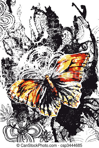 beautiful butterfly banner with distressed effect - csp3444685