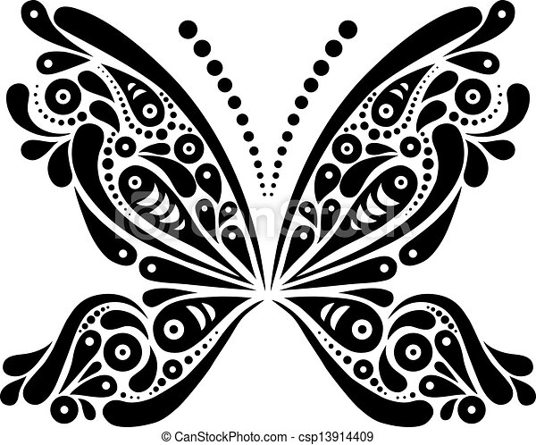 Beautiful butterfly tattoo. Artistic pattern in butterfly shape. Black and white illustration - csp13914409