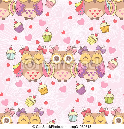 Beautiful card with owls and cake - csp31269818