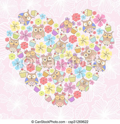 Beautiful card with owls and flower - csp31269622