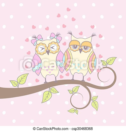 Beautiful card with owls  - csp30468368