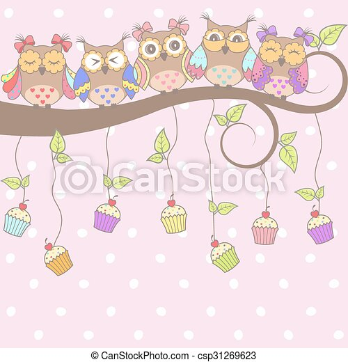 Beautiful card with owls  - csp31269623