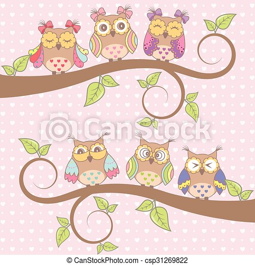 Beautiful card with owls in love - csp31269822