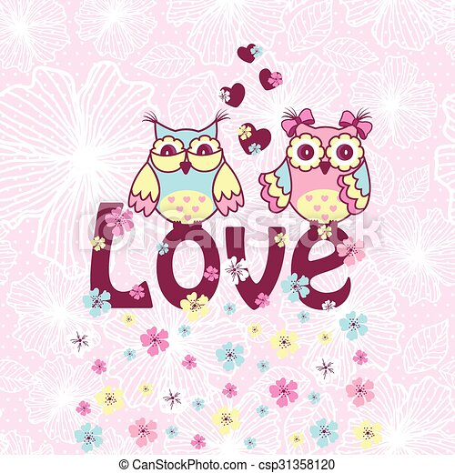 Beautiful card with owls in love - csp31358120