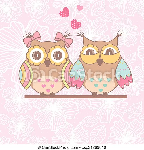 Beautiful card with owls in love - csp31269810