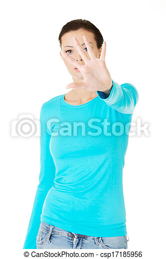 beautiful casual woman with her hand in front. - csp17185956