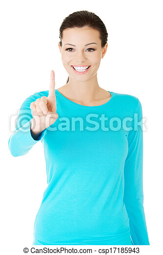 beautiful casual woman with pointing finger. - csp17185943