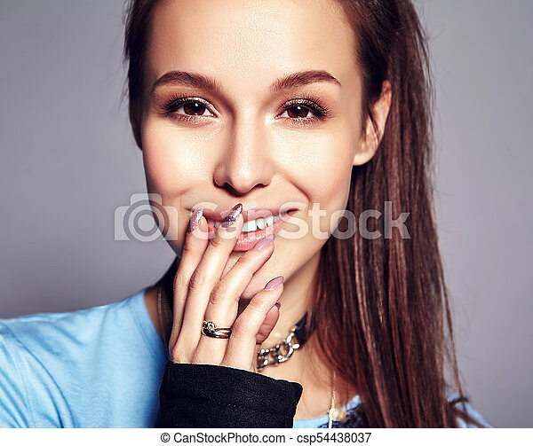 a6b4ba9cef8 Beautiful caucasian hipster brunette woman model in bright black summer  stylish clothes posing on gray background.