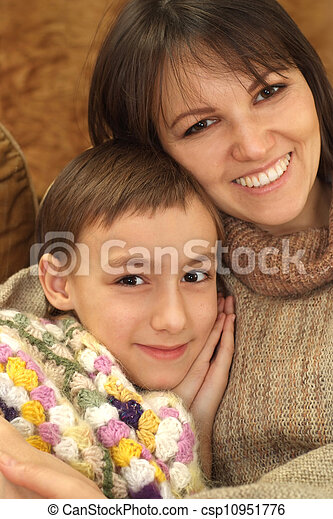 Beautiful Caucasian mom with her son - csp10951776