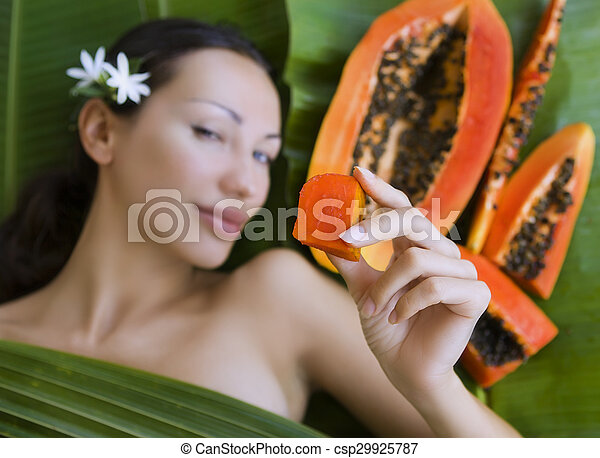 Beautiful Caucasian Woman With Fresh Fruit Papaya Outdoors Healthy Natural Exotic Food