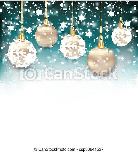 Beautiful Celebration Card with Christmas Balls - csp30641537