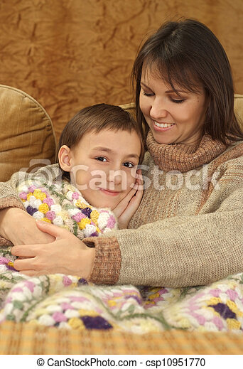 Beautiful charming Caucasian mama with her son - csp10951770