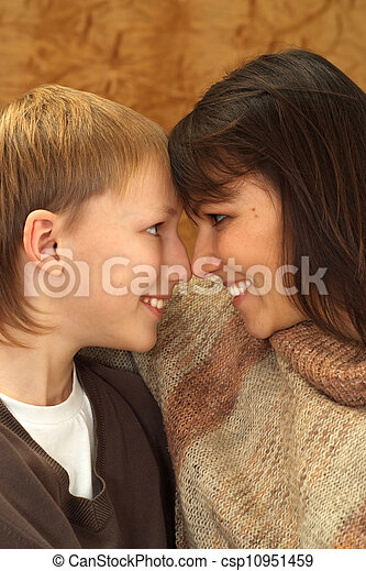 Beautiful charming Caucasian mother with her son - csp10951459