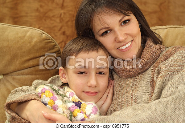 Beautiful charming mom with her son - csp10951775