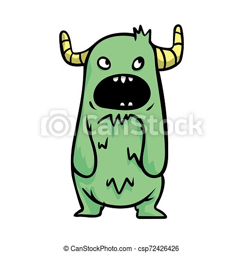 Beautiful Cheerful And Cute Cartoon Monsters With Big Horns Of Green Color Flat Style Vector Illustration On White
