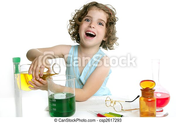 Beautiful chemistry little girl playing in lab - csp2617293
