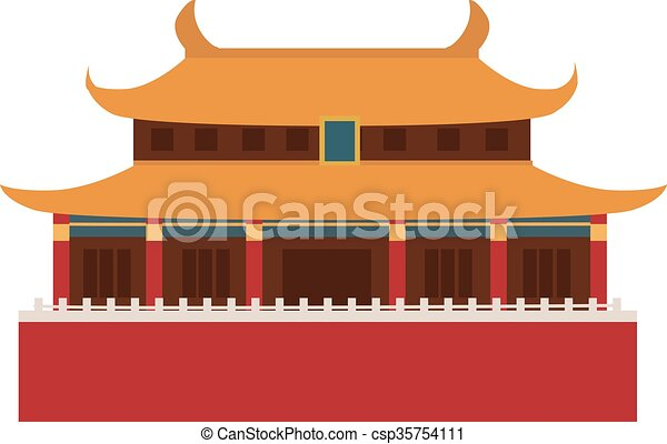 Beautiful China Travel Landmarks Chinese Temple Vector