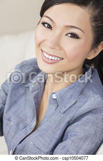 Beautiful Chinese Oriental Asian Woman Smiling - csp10504077