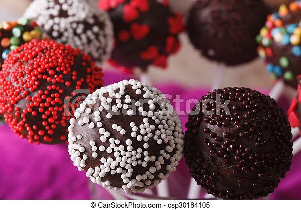 Beautiful Chocolate Cake Pops With Multicolored Candy Sprinkles